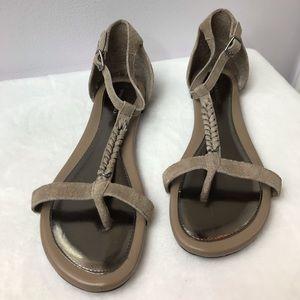Banana Republic- Tan Suede braided flat sandals